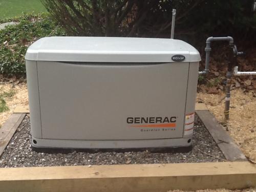 Generac Generator on pea gravel bed