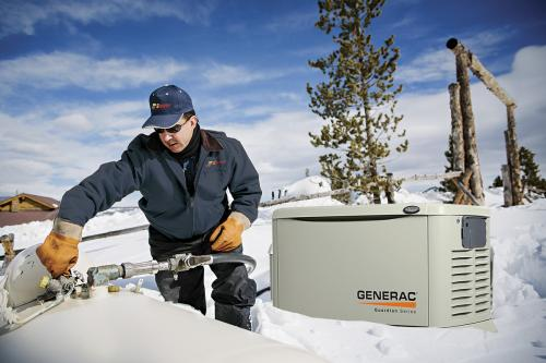 Sippin guy with Generac generator